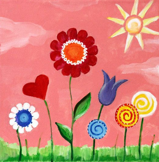 childrens w sun and flowers for nursery or rooms - Painting For Childrens