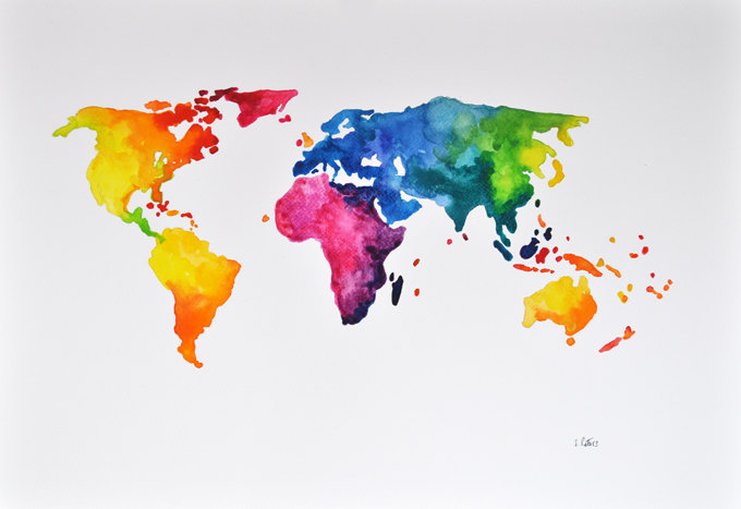 World map paintings original abstract world map water painting by cornershop gumiabroncs Gallery