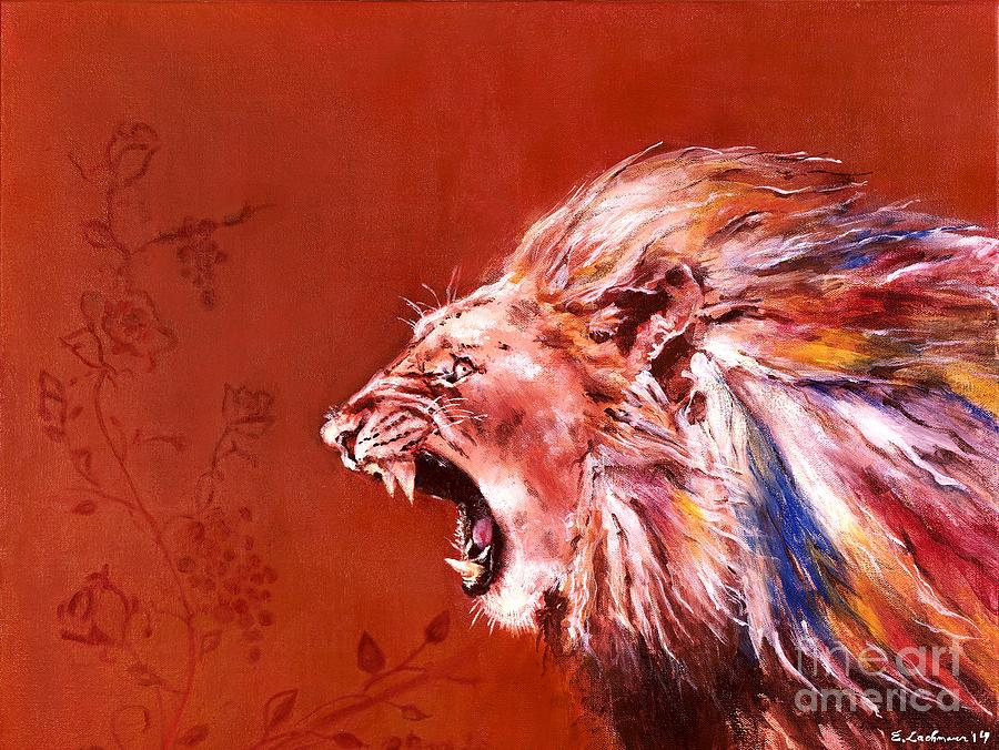 Roaring lion painting