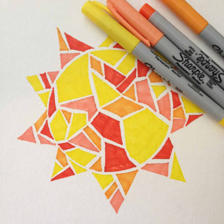 Line Design Art Activities : Shapes paintings