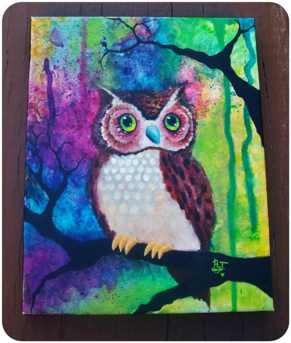 Simple cute owl painting