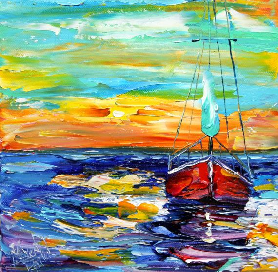 Sail Boats Oil Painting