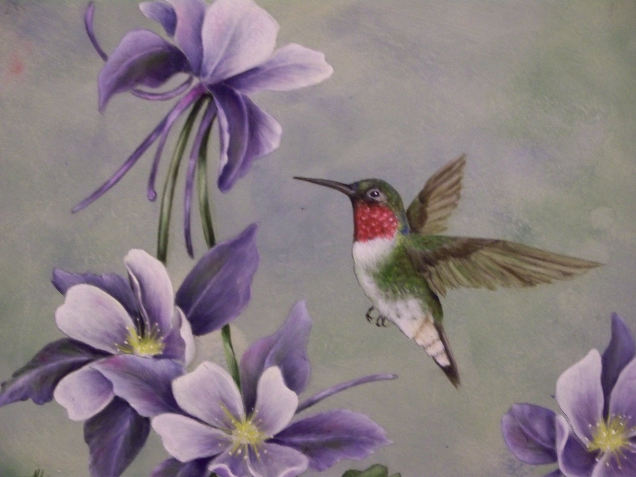 Hummingbird flowers painting