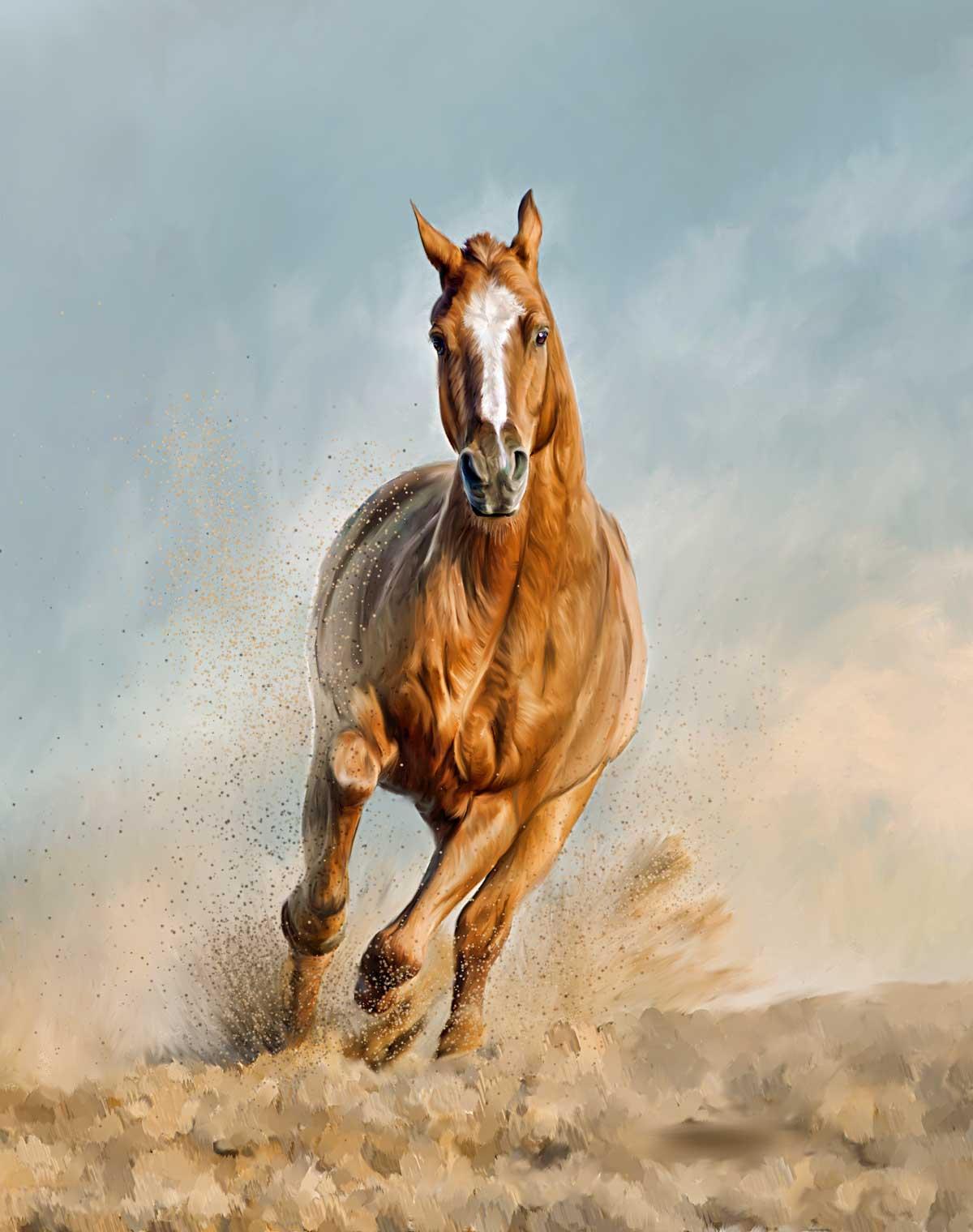 Running horse painting