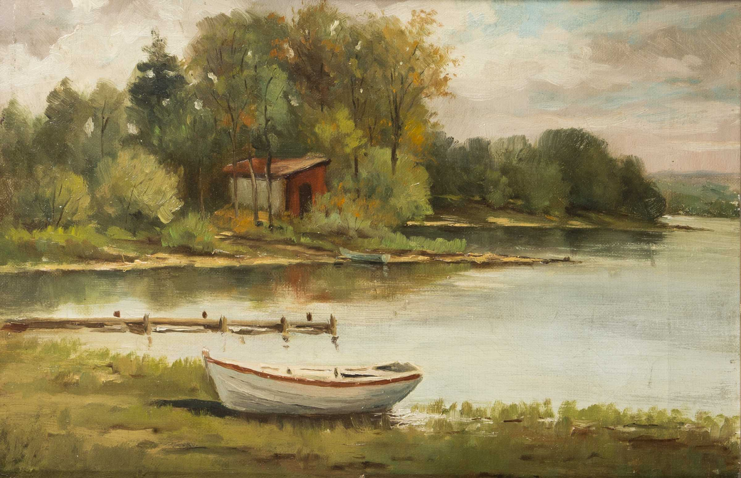 Oil Paintings Boat By The Docks