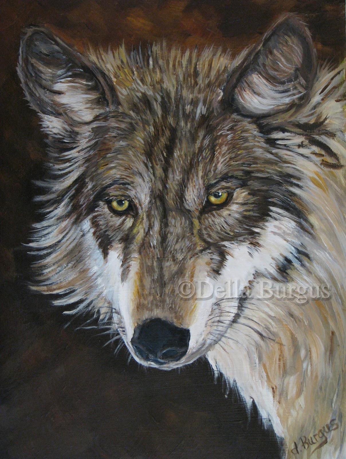 Wolf paintings acrylic
