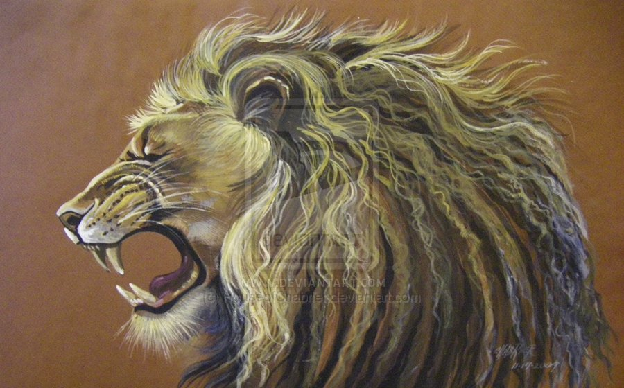 Roaring lioness painting