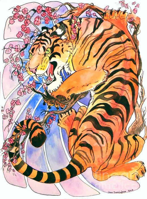 Japanese white tiger art