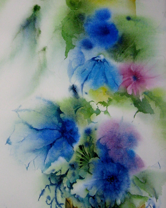 Bright watercolor paintings for Bright flower painting