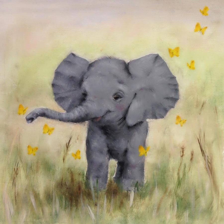 Baby elephant painting