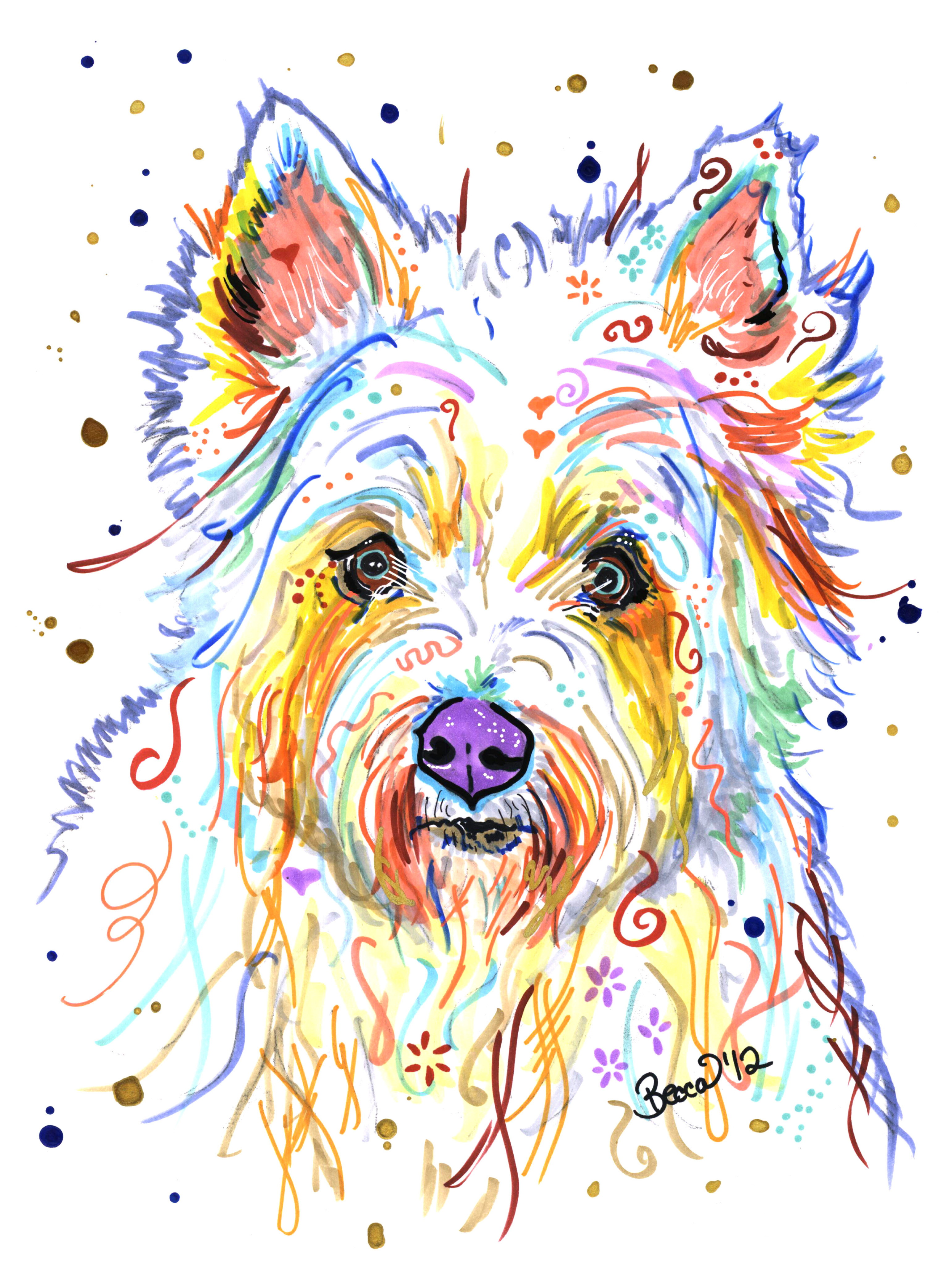 Abstract dog paintings for Dog painting artist