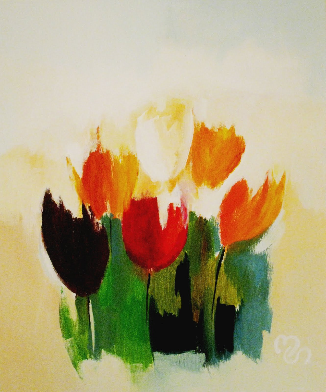 Acrylic tulip paintings for How paint on canvas