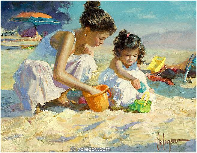 CHILDREN ON THE BEACH Painting 100x100 Cm Oil On Canvas Sold
