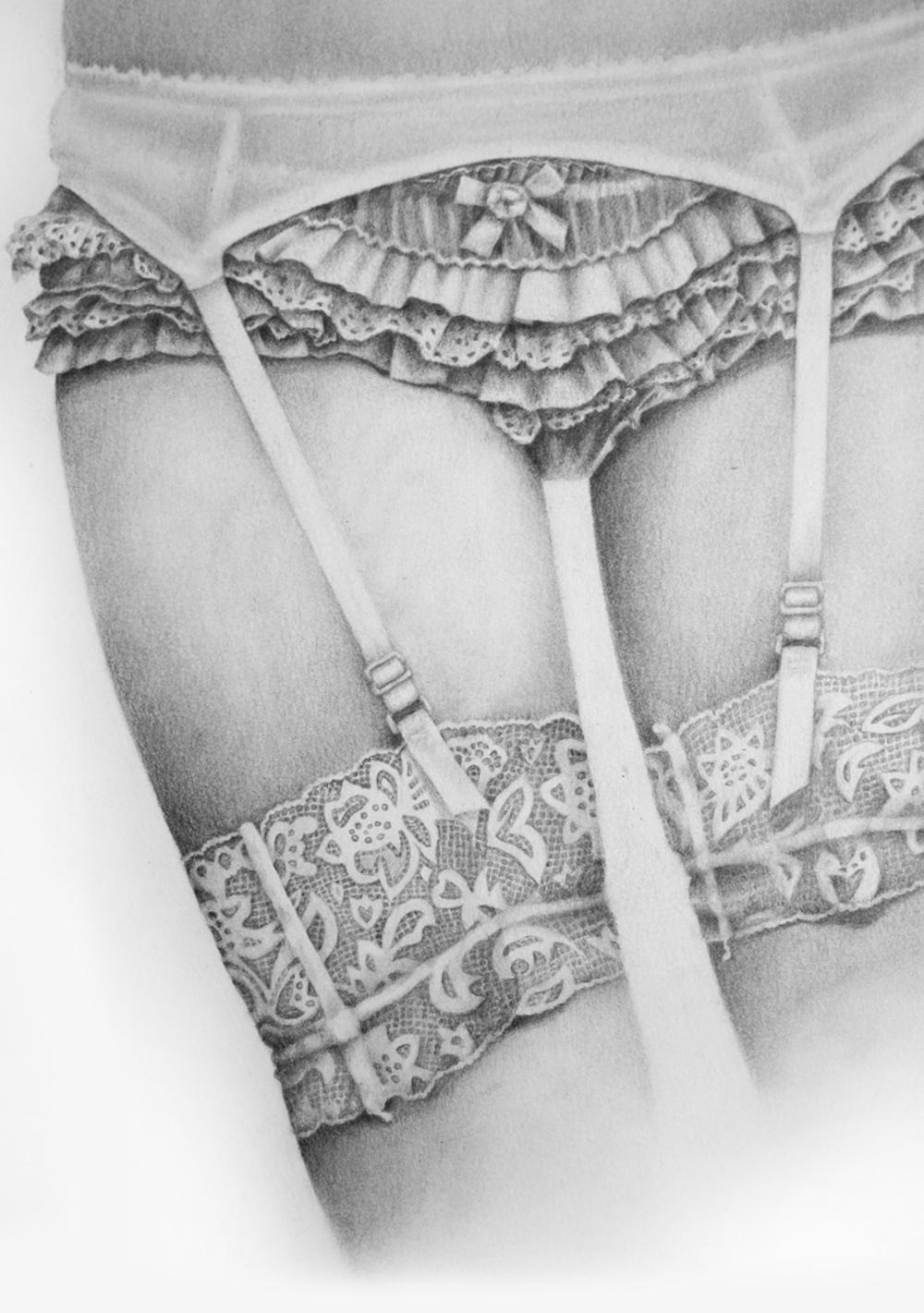 Woman Choosing Bra Romantic Lingerie Drawers Stock Photo