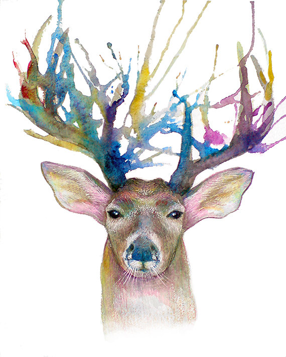 Watercolor Deer Paintings