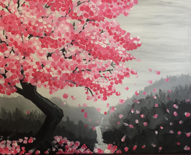картинки сакура в цвету нарисовать герои соревновались
