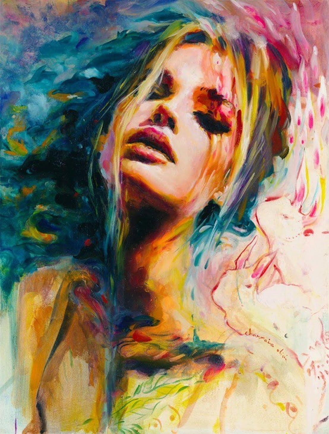 100% Handmade canvas painting beautiful women painting