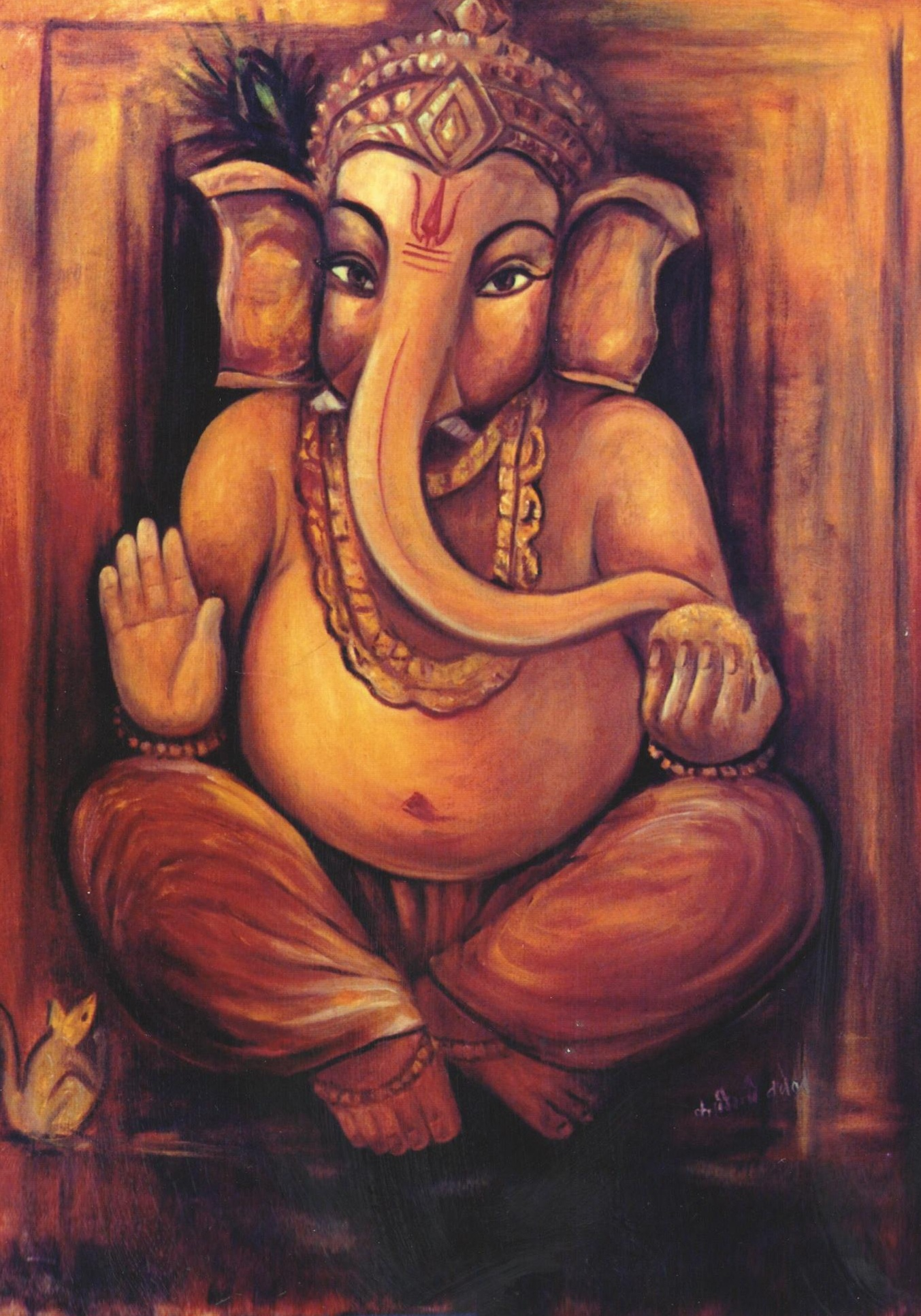 Simple Canvas Ganpati Painting