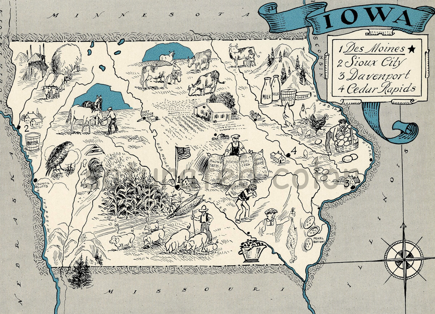 Old Iowa Map.Iowa Paintings