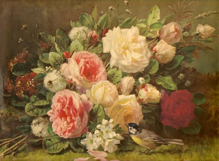 vintage rose paintings