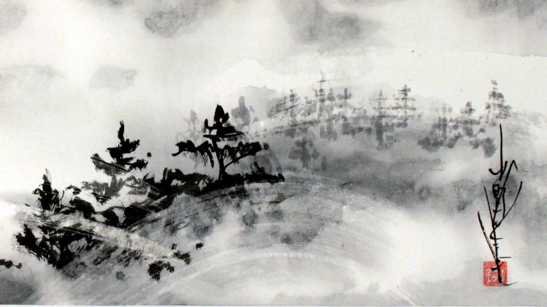 Art Black Ink White Paint Techniques