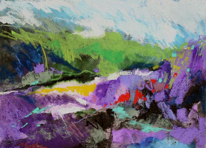 Landscape Abstract Oil Pastel Art