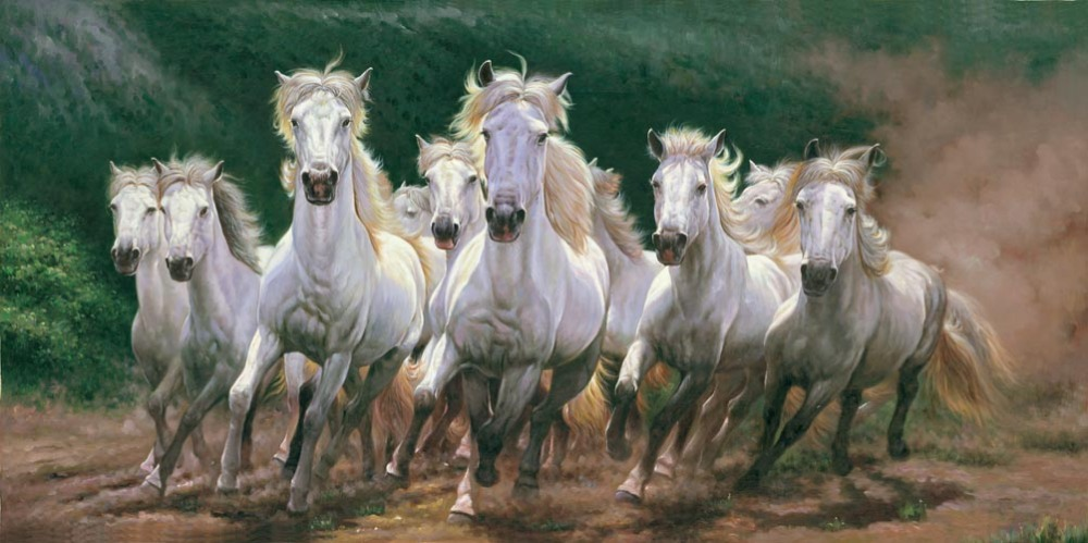 Running Horses paintings 7 White Horses Running Painting