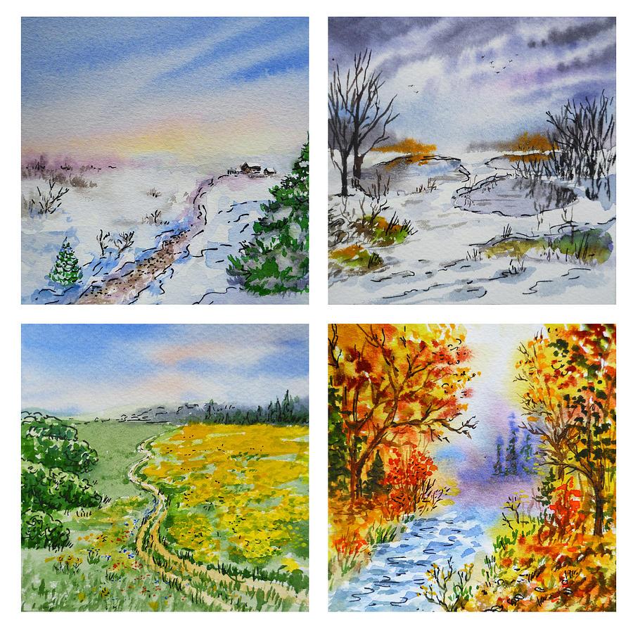 весна и зима на одной картинке рисунок оказалось, девушка