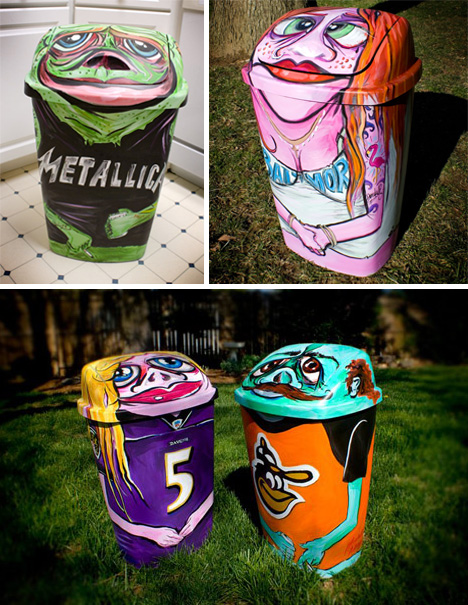 Trash Can Paintings Beauteous Exterior Trash Receptacles Creative Painting