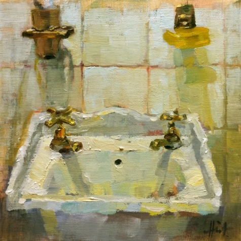 Hot and Cold bathroom sink, original painting by, ist Liza Hirst .