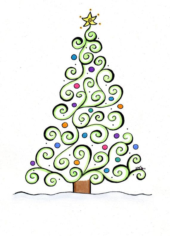 christmas card set of 10 whimsical christmas tree wishing you a