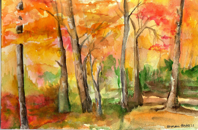 Осень картинки нарисовать акварель