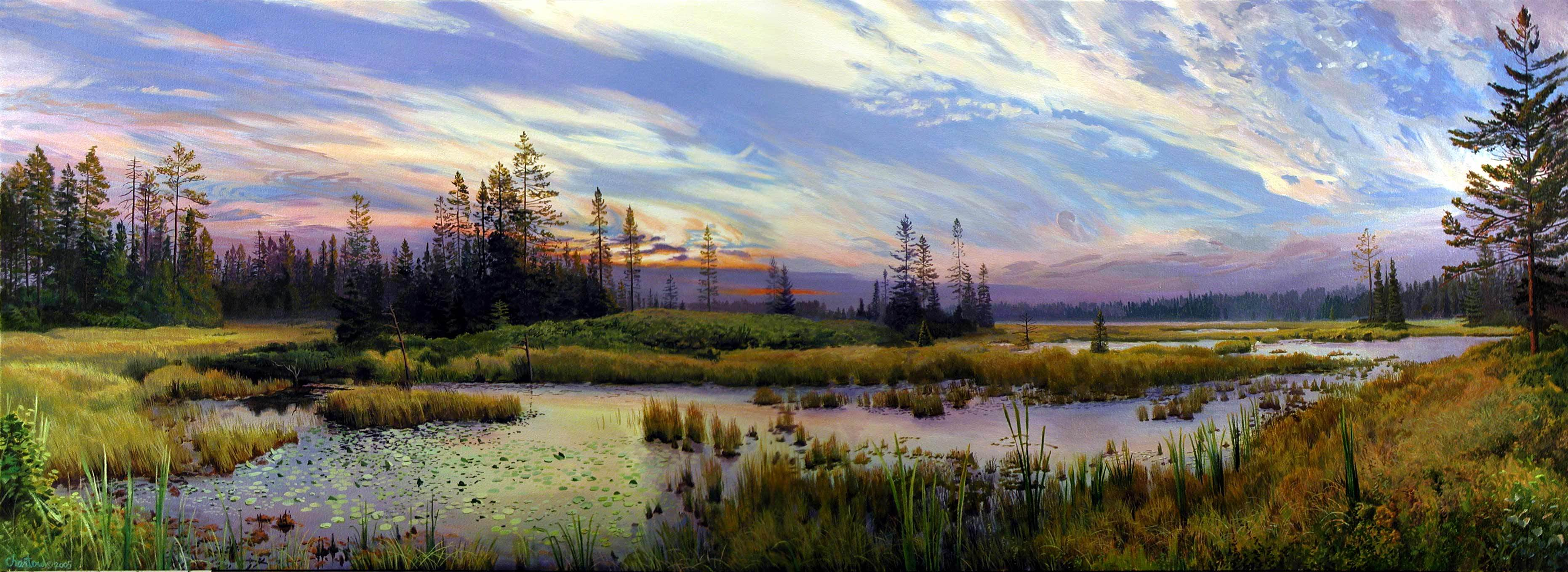 landscape painting oil nature paintings landscapes michigan arthur natural hd wallpapers canvas wildlife forest seney trees refuge national houses beauty