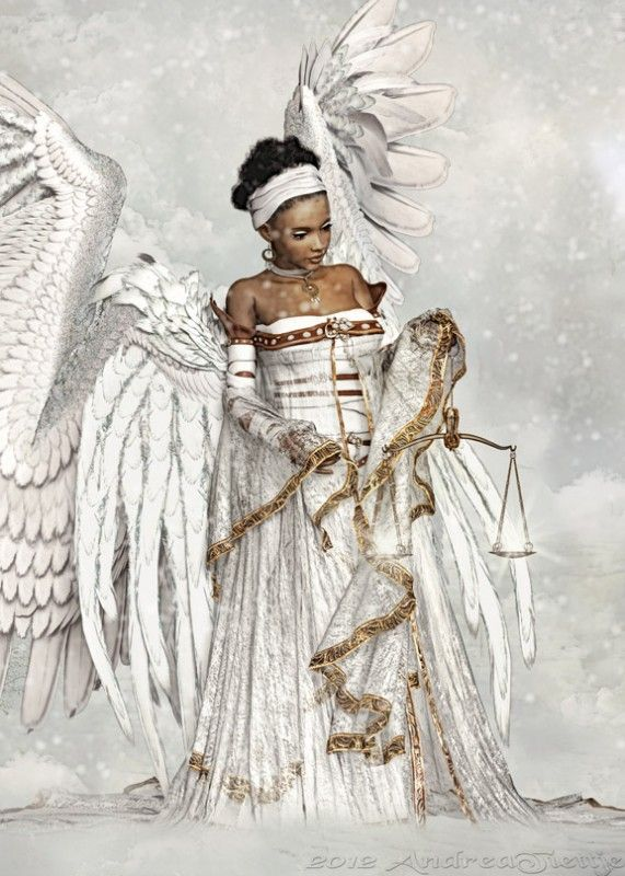 Beautiful African American Angels Clipart