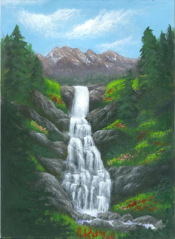 только центре как нарисовать картинки водопадов с камнями качественной