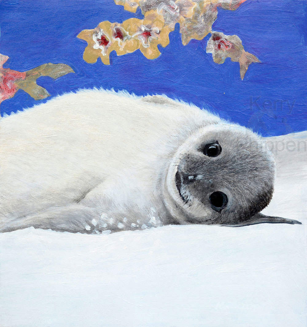 Seal Pup Painting Sm Square Acrylic Work Framed Original