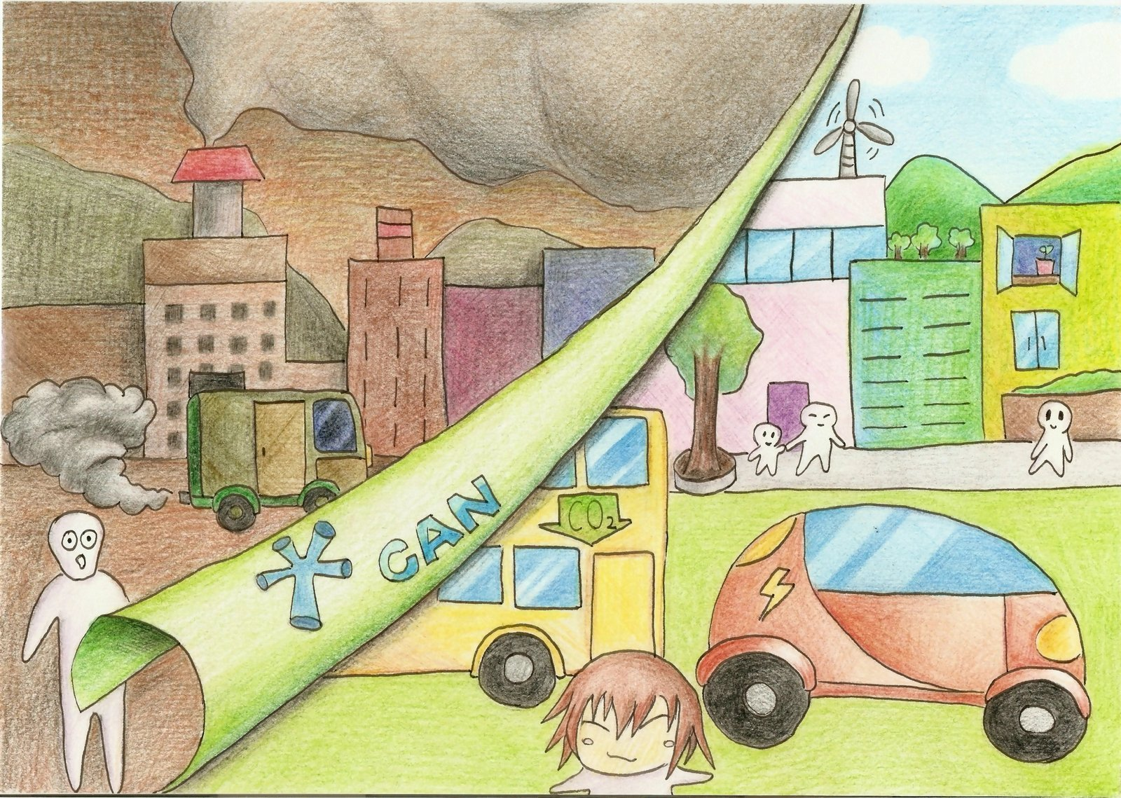 Air pollution drawing