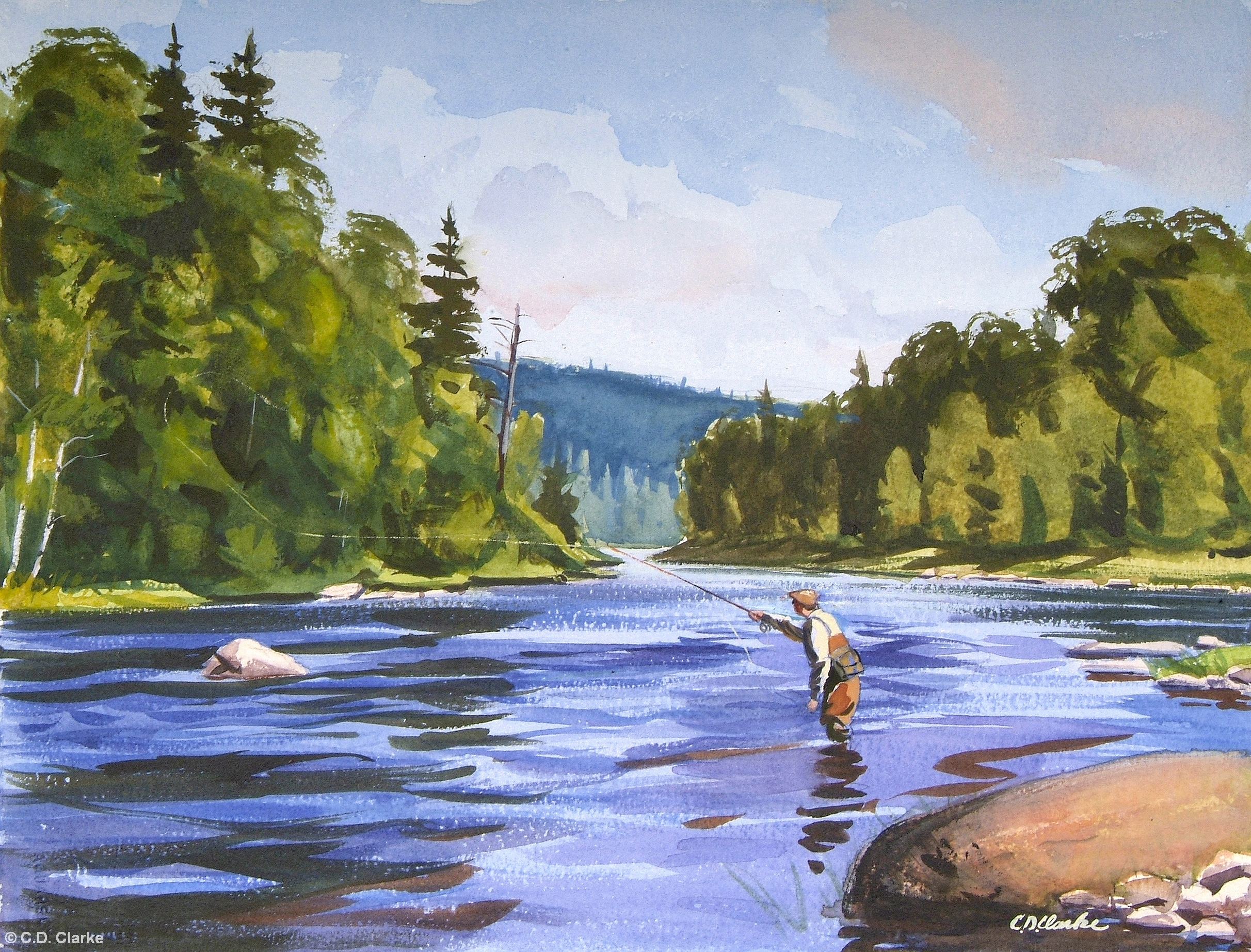 Fishing paintings for Fly fishing art