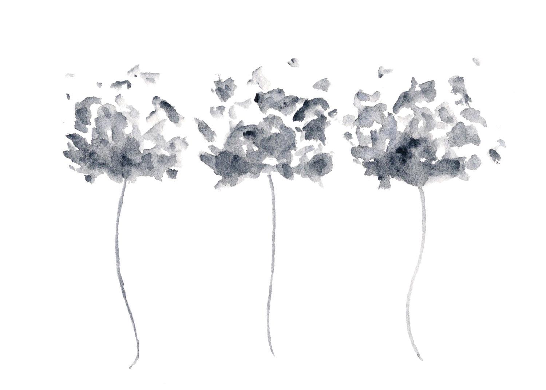 Black flower paintings
