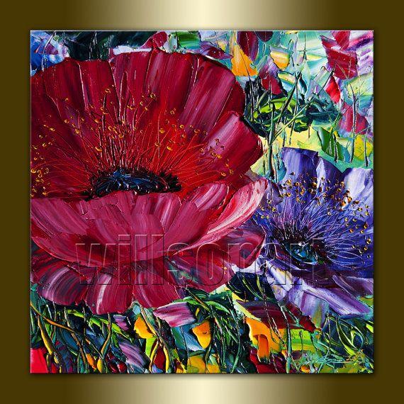 Textured Flower paintings
