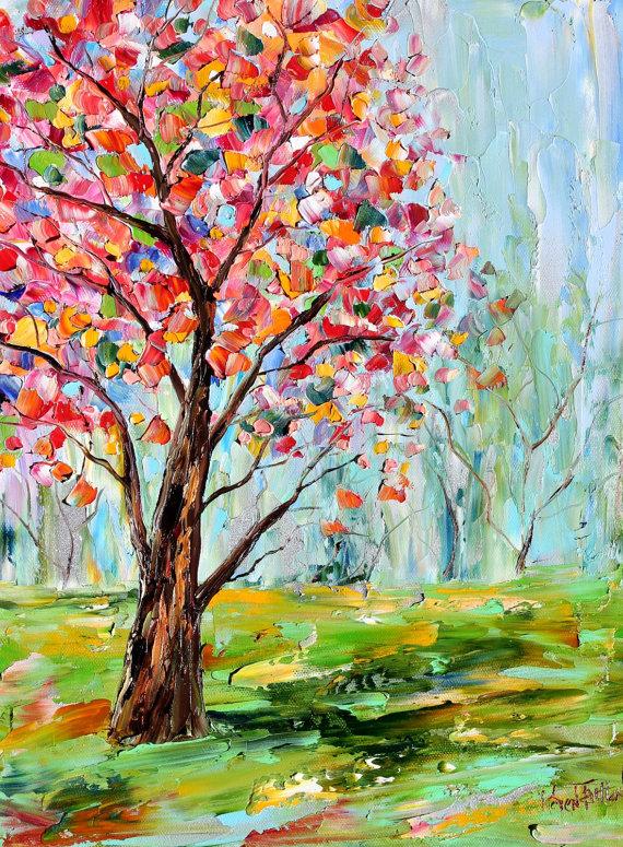 Oil Painting Impressionist Trees