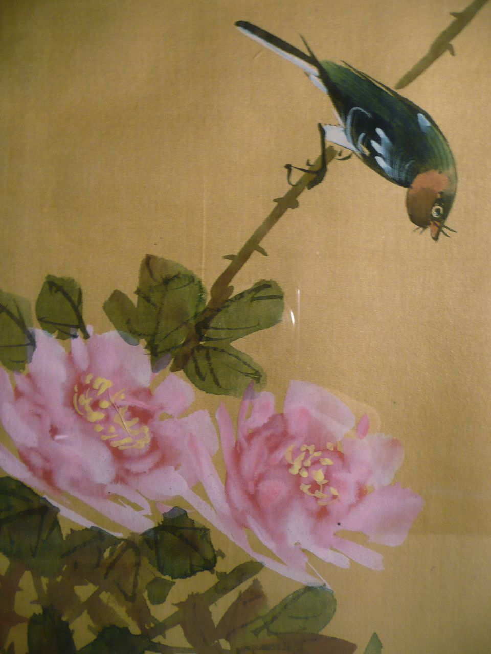 Japanese bird paintings japanese painting on silk bird with flowers signed from gate on mightylinksfo