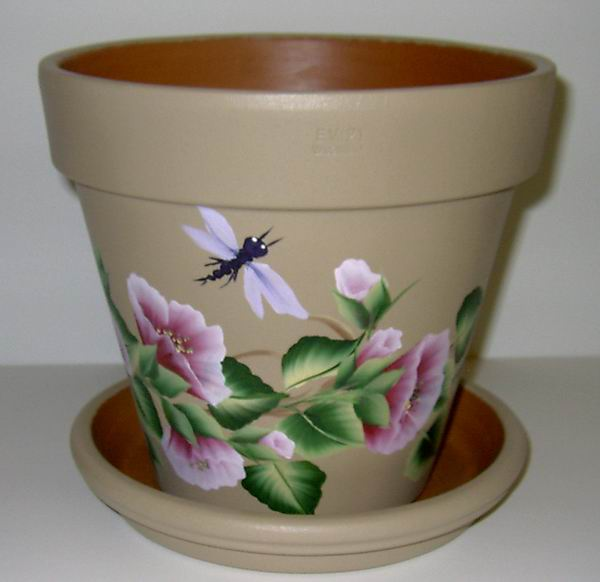 Flower pot paintings for Big pot painting designs