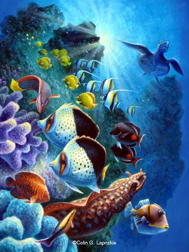 Tropical fish paintings for Fish paintings on canvas