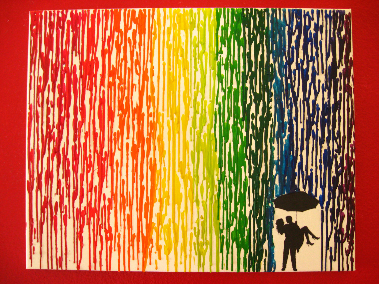 Fabulous Rainbow Encaustic Wax Painting X Canvas By Fembydesign With Couple Under Umbrella Silhouette