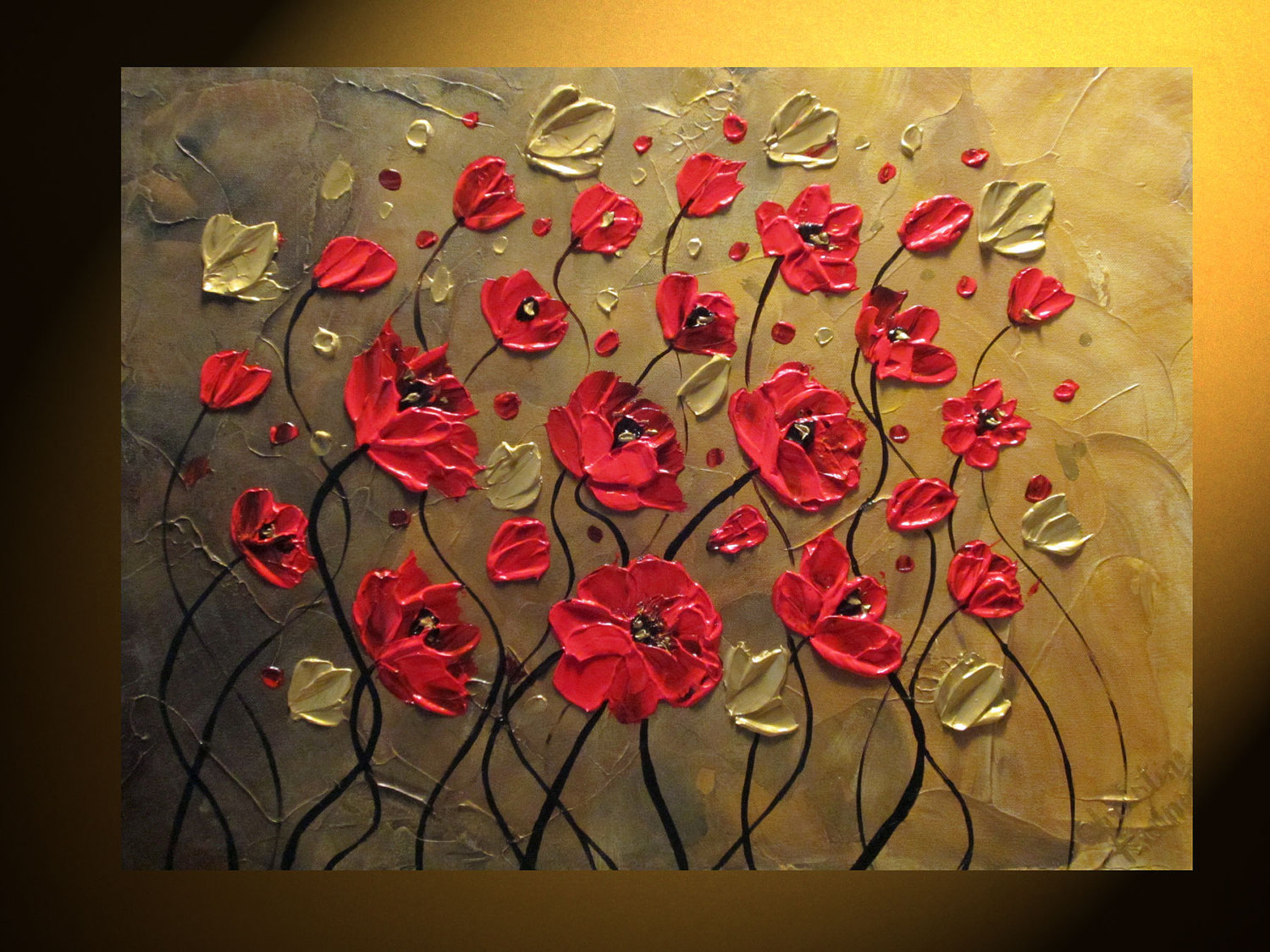 Textured flower paintings original abstract painting textured red poppy by christinekrainock mightylinksfo