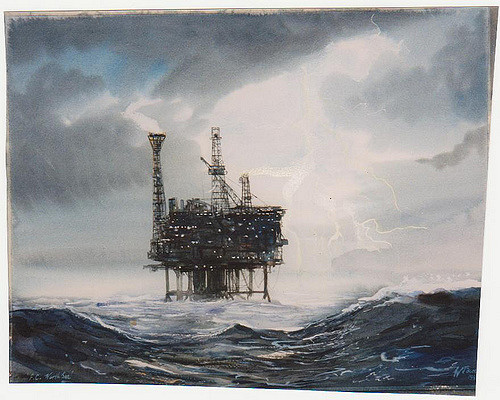 Image result for oil rig in painting