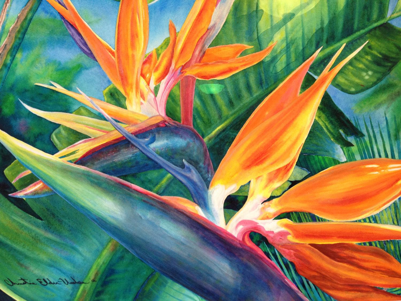 Tropical Flowers paintings