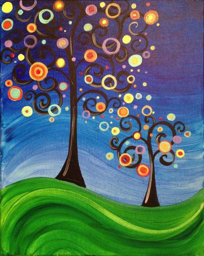 Whimsical Tree paintings
