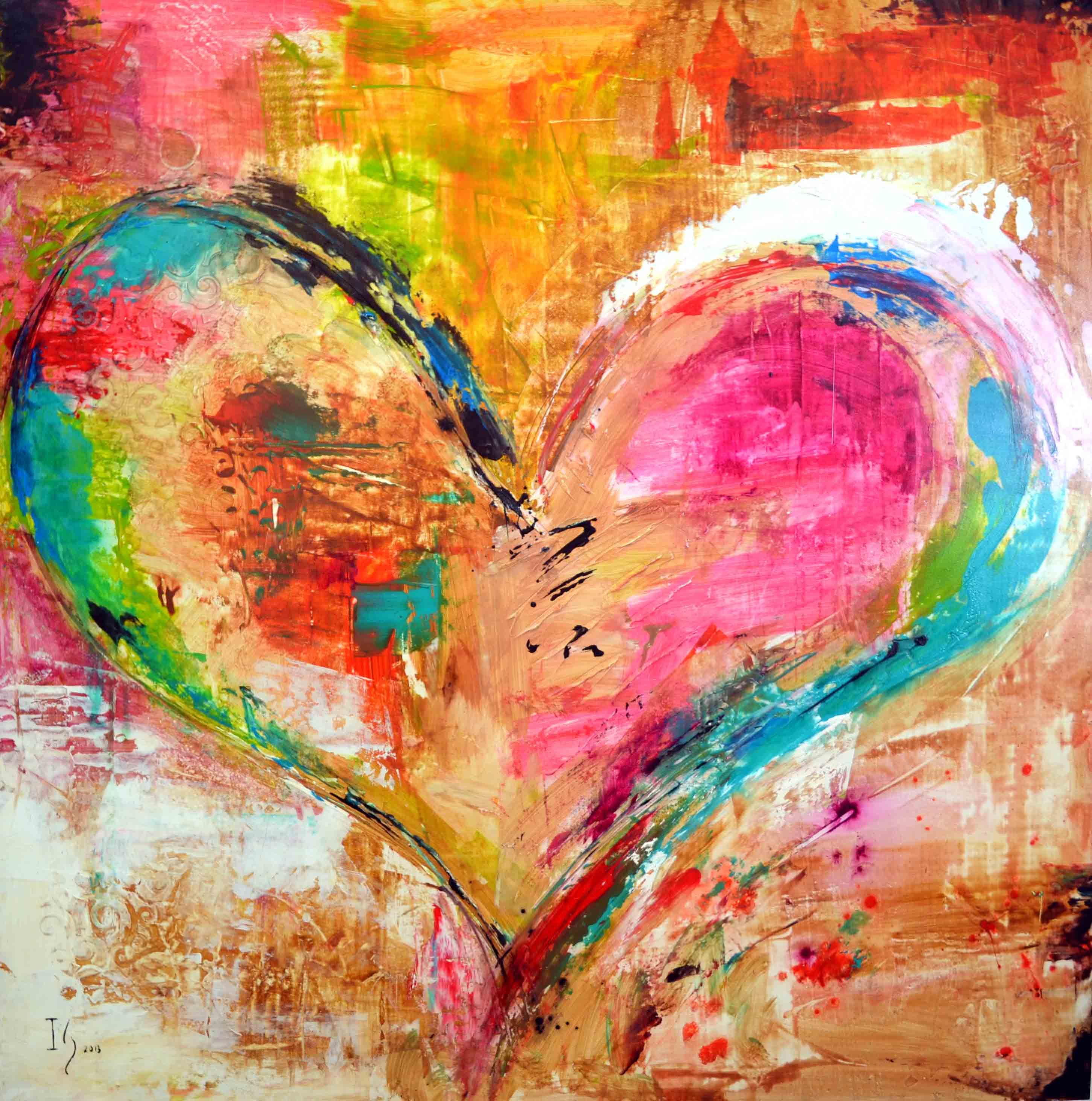 heart canvas paintings